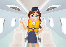 Hostess with the vest of air rescue. Illustration of hostess with the vest of air rescue Stock Photos