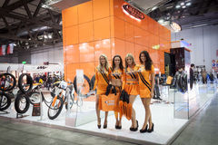 Hostesses at EICMA 2013 in Milan, Italy Stock Images