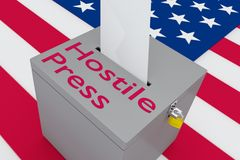 Hostile Press concept. 3D illustration of Hostile Press script on a ballot box, with US flag as a background Royalty Free Stock Photography