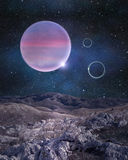 Hostile unknown planet with a view to the others in space. View on illuminated unknown planet deep in outer space with beautiful stars in the sky. High Stock Photography