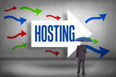 Hosting against arrows pointing Royalty Free Stock Photo