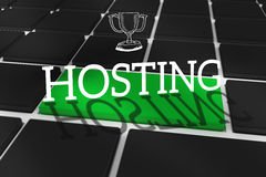 Hosting against black keyboard with green key Royalty Free Stock Photos
