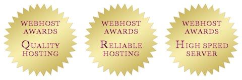 Hosting awards. Three web hosting awards: quality host award, reliable host award, fast server award Royalty Free Stock Image