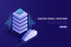 Hosting concept with cloud data storage and server room. Server rack with cloud.Isometric style. Hosting concept with cloud data storage and server room. Server Stock Photos