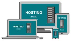Hosting concept on different devices royalty free illustration