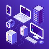 Hosting data server, pc, laptop computer, smart watch, NAS, smartphone or mobile phone. Devices for business isometric. 3d vector illustration Royalty Free Stock Image