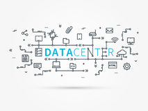 Hosting infrastructure connecting with server system. Analysis infrastructure for server room. Data center for hosting technology and network. Vector Stock Images