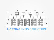 Hosting infrastructure connecting with server system. Analysis infrastructure for server room with different devices and elements. Data center system. Vector Royalty Free Stock Photos