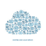 Hosting, network and cloud service icons Stock Photography