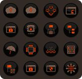 Hosting provider icons set. Hosting provider color vector icons on dark background for user interface design royalty free illustration