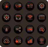 Hosting provider icons set. Hosting provider color vector icons on dark background for user interface design vector illustration