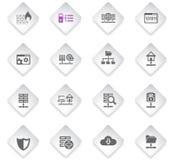 Hosting provider icon set. Hosting provider flat rhombus web icons for user interface design stock illustration