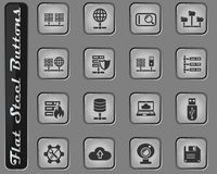Hosting provider icon set. Hosting provider vector web icons on the flat steel buttons stock illustration