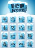 Hosting provider icon set. Hosting provider vector icons frozen in transparent blocks of ice vector illustration