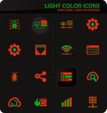Hosting provider icons set. Hosting provider easy color vector icons on dark background for user interface design royalty free illustration