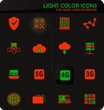 Hosting provider icons set. Hosting provider easy color vector icons on dark background for user interface design vector illustration