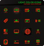 Hosting provider icons set. Hosting provider easy color vector icons on dark background for user interface design stock illustration