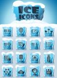 Hosting provider icon set. Hosting provider vector icons frozen in transparent blocks of ice royalty free illustration