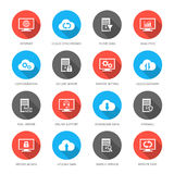 Hosting, server, database and cloud computing. Vector set with hosting, server, database, network and cloud computing icons Stock Images