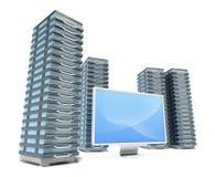 Hosting Server Farm And Monitor Stock Photos