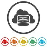 Hosting server icon, Database icon, 6 Colors Included. Simple vector icons set royalty free illustration
