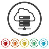 Hosting server icon, Database icon, 6 Colors Included. Simple vector icons set vector illustration