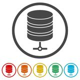 Hosting server icon, Database icon, 6 Colors Included. Simple vector icons set stock illustration