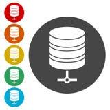 Hosting server icon, Database icon. Simple  icons set Stock Photos