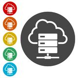 Hosting server icon, Database icon. Simple vector icons set Stock Photos