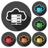 Hosting server icons set with long shadow. Vector icon Stock Images