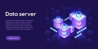 Hosting server isometric vector illustration. Abstract 3d datacenter or data center room background. Network mainframe