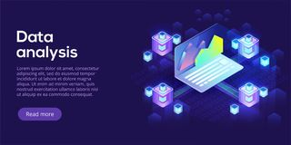 Hosting server isometric vector illustration. Abstract 3d datace. Nter or data center room background. Network mainframe infrastructure website header layout Royalty Free Stock Images