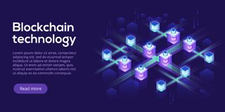 Hosting server isometric vector illustration. Abstract 3d datace. Nter or blockchain background. Network mainframe infrastructure website header layout. Computer stock illustration