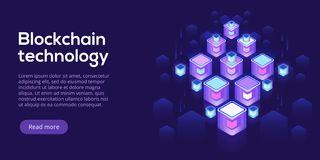 Hosting server isometric vector illustration. Abstract 3d datace. Nter or blockchain background. Network mainframe infrastructure website header layout. Computer Stock Photo