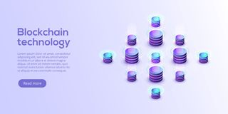 Hosting server isometric vector illustration. Abstract 3d datace. Nter or blockchain background. Network mainframe infrastructure website header layout. Computer royalty free illustration