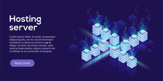 Hosting server isometric vector illustration. Abstract 3d datace. Nter or data center room background. Network mainframe infrastructure website header layout royalty free illustration