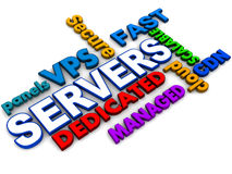 Hosting servers. Different hosting server types like dedicated virtual private shared managed etc, words collage on white background Royalty Free Stock Photos