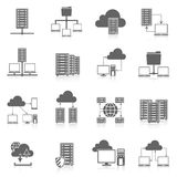 Hosting service black icons set Royalty Free Stock Image