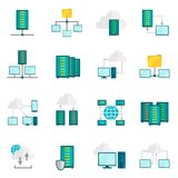 Hosting service flat icons set Stock Image