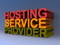 Hosting service provider. 3D illustrated text graphics spelling hosting service provider in colorful block letters on purple background stock illustration