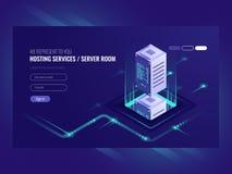 Hosting services, data center, server server room, template of page on information technologies theme sometric vector. Illustration ultraviolet vector illustration