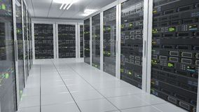 Hosting services. Servers in datacenter. 3D rendered illustration Royalty Free Stock Image
