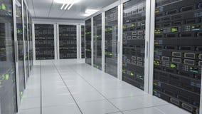 Hosting services. Servers in datacenter. 3D rendered illustration