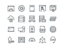 Hosting. Set of outline vector icons. Includes such as SSD Disk, Control Panel, Traffic, Firewall and other. Editable Stock Images