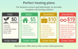 Hosting tariffs or price template for internet services. Vector royalty free illustration