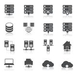 Hosting technology pictograms set Stock Photos
