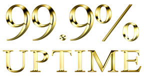 Hosting uptime. Web hosting uptime 99 percent gold plate Royalty Free Stock Photo