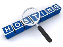 Hosting. In white text on blue 3D blocks with magnifying glass on white background Stock Image