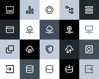 Hosting and wireless network icons. Flat Stock Photos