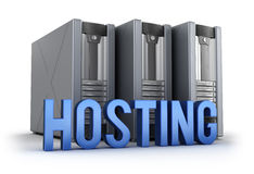 Hosting word and Servers Royalty Free Stock Photo